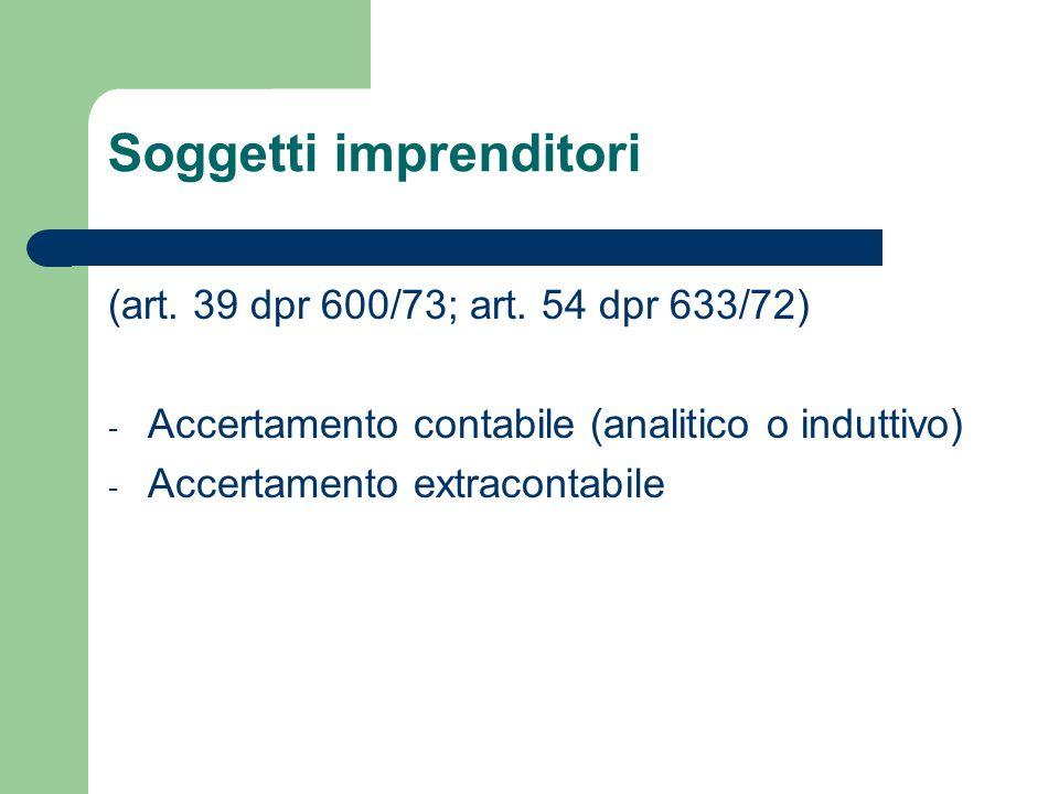 Soggetti imprenditori (art.39 dpr 600/73; art.