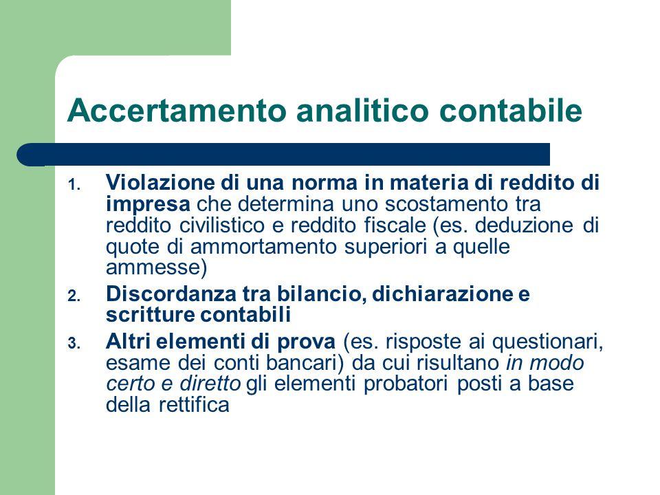 Accertamento analitico contabile 1.