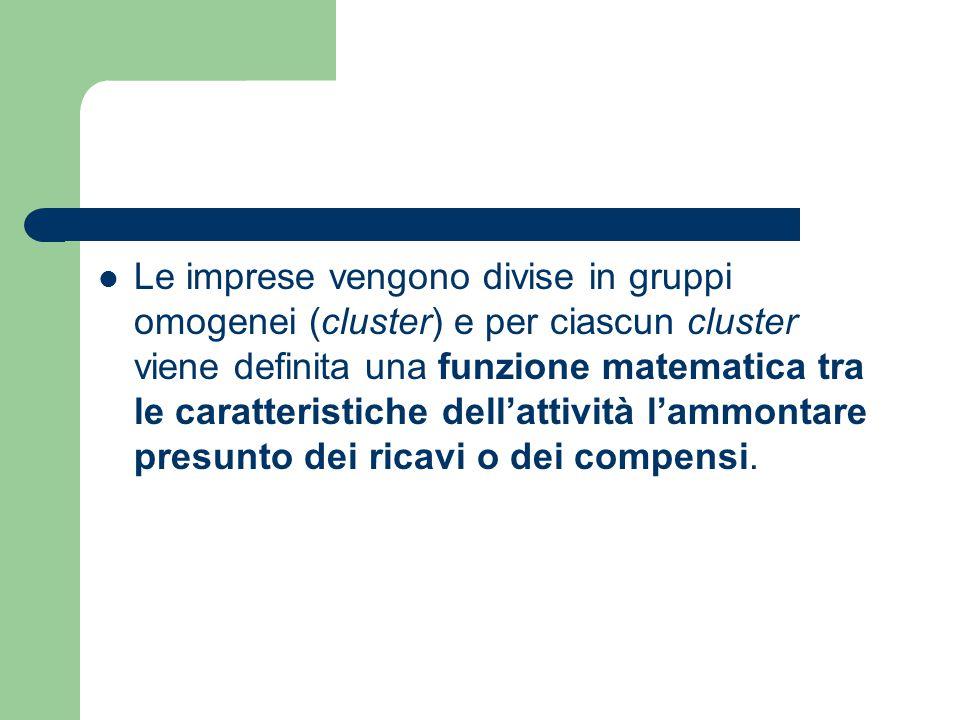 Le imprese vengono divise in gruppi omogenei (cluster) e per ciascun cluster viene definita una funzione matematica tra le caratteristiche dell'attività l'ammontare presunto dei ricavi o dei compensi.