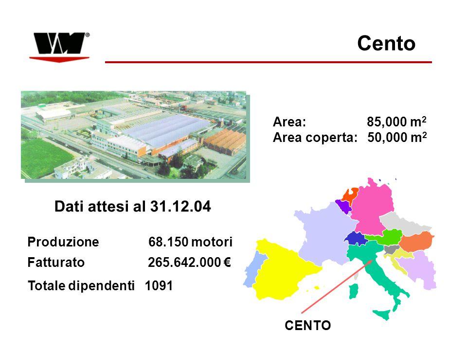 CENTO Area: 85,000 m 2 Area coperta: 50,000 m 2 Dati attesi al 31.12.04 Produzione 68.150 motori Fatturato 265.642.000 € Totale dipendenti 1091 Cento