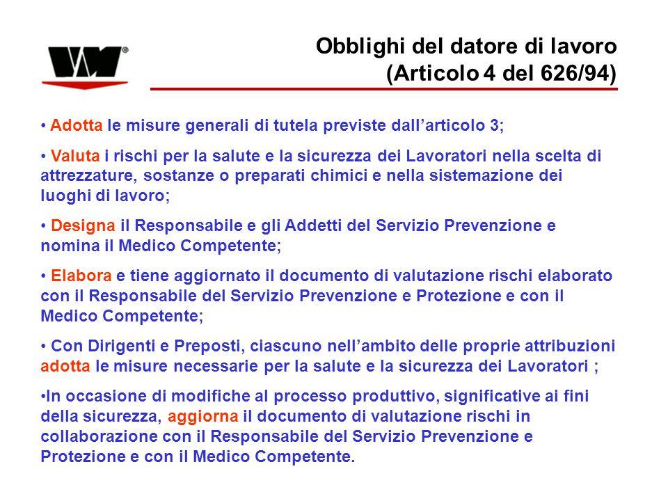 Obblighi del datore di lavoro (Articolo 4 del 626/94) Adotta le misure generali di tutela previste dall'articolo 3; Valuta i rischi per la salute e la
