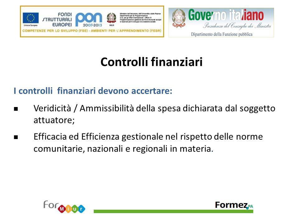 Controlli finanziari I controlli finanziari devono accertare: Veridicità / Ammissibilità della spesa dichiarata dal soggetto attuatore; Efficacia ed E
