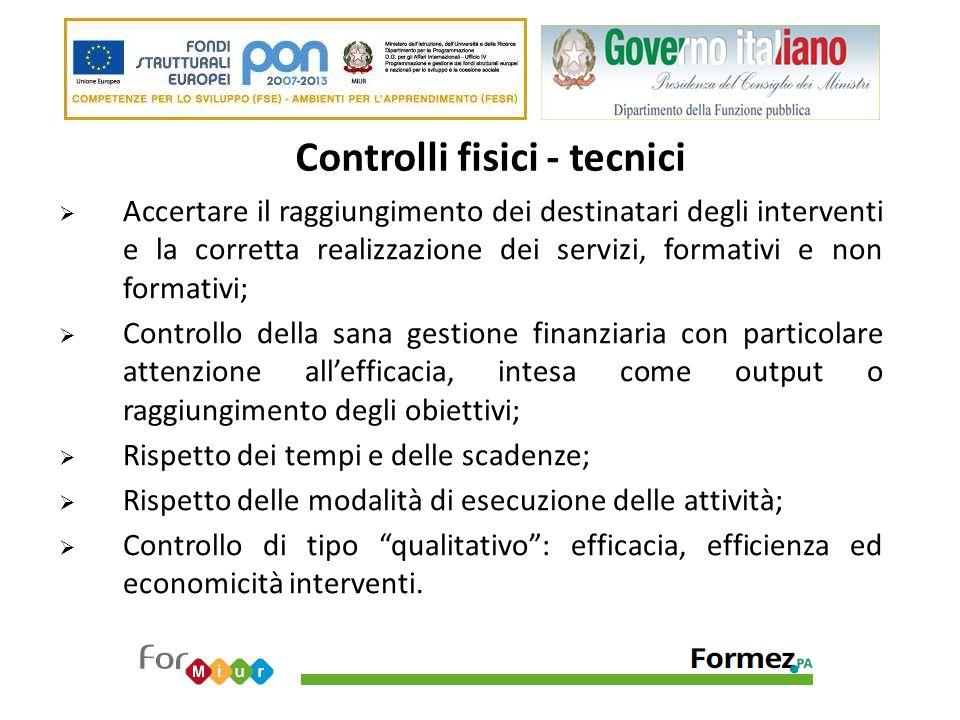 Controlli fisici - tecnici  Accertare il raggiungimento dei destinatari degli interventi e la corretta realizzazione dei servizi, formativi e non for