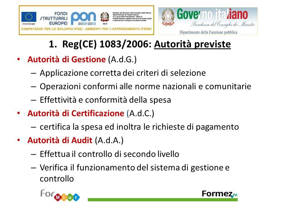 1. Reg(CE) 1083/2006: Autorità previste Autorità di Gestione (A.d.G.) – Applicazione corretta dei criteri di selezione – Operazioni conformi alle norm