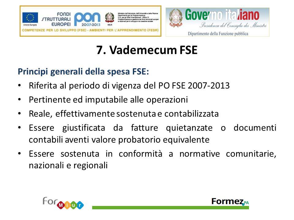 7. Vademecum FSE Principi generali della spesa FSE: Riferita al periodo di vigenza del PO FSE 2007-2013 Pertinente ed imputabile alle operazioni Reale