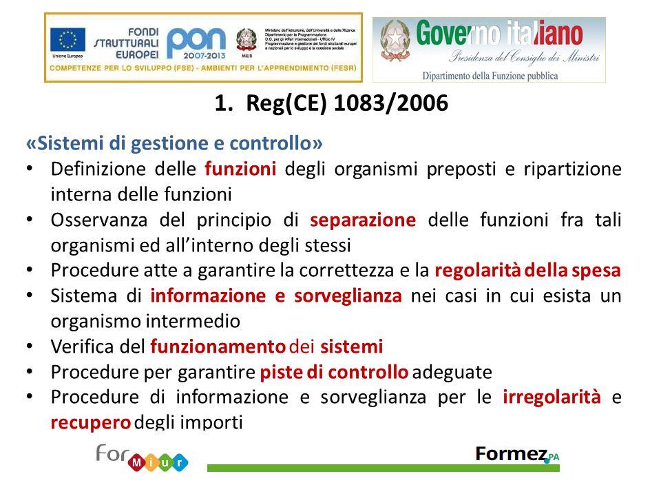 1. Reg(CE) 1083/2006 «Sistemi di gestione e controllo» Definizione delle funzioni degli organismi preposti e ripartizione interna delle funzioni Osser