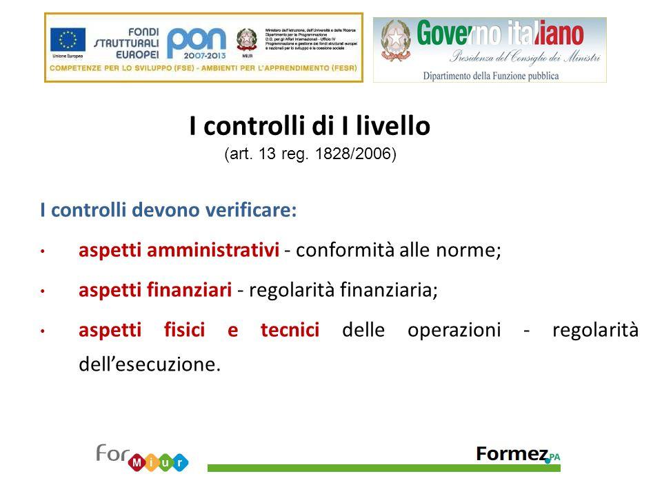 I controlli di I livello (art. 13 reg. 1828/2006) I controlli devono verificare: aspetti amministrativi - conformità alle norme; aspetti finanziari -
