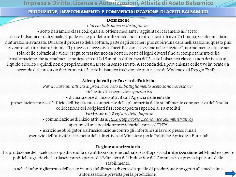 Impresa e Diritto, Licenze e Autorizzazioni, Attività di Aceto Balsamico Definizione L'aceto balsamico si distingue in: - aceto balsamico classico,il quale si ottiene mediante l'aggiunta di caramello all'aceto; -aceto balsamico tradizionale,il quale viene prodotto utilizzando mosto cotto, mosto di uva Trebbiano, vendemmiata in maturazione avanzata.