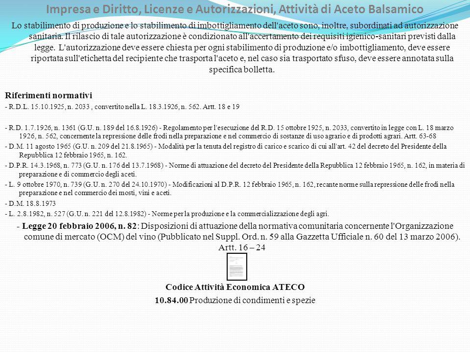 Impresa e Diritto, Licenze e Autorizzazioni, Attività di Aceto Balsamico Lo stabilimento di produzione e lo stabilimento di imbottigliamento dell aceto sono, inoltre, subordinati ad autorizzazione sanitaria.