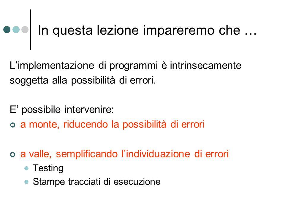 In questa lezione impareremo che … L'implementazione di programmi è intrinsecamente soggetta alla possibilità di errori.
