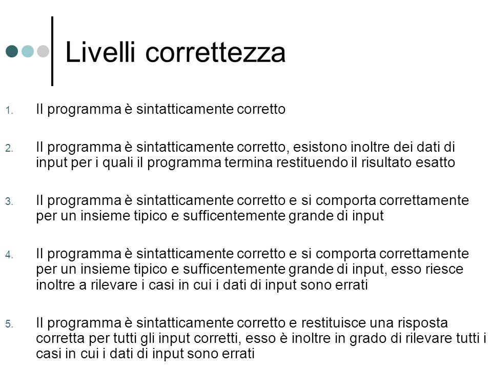 Livelli correttezza 1.Il programma è sintatticamente corretto 2.