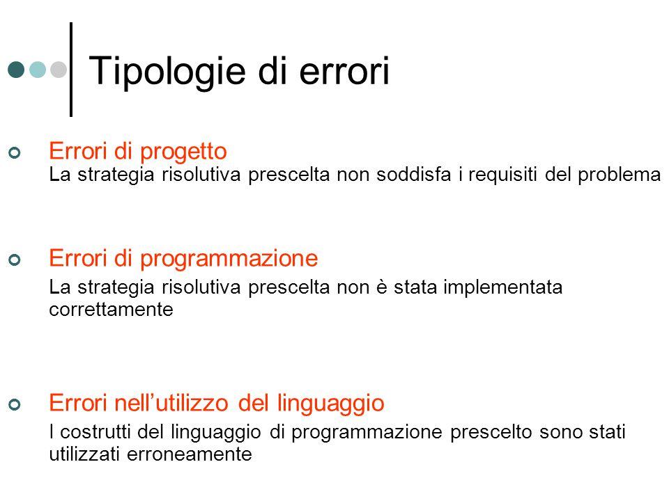 Errori nell'utilizzo del linguaggio E' possibile rilevare gli errori di utilizzo del linguaggio già durante la compilazione.