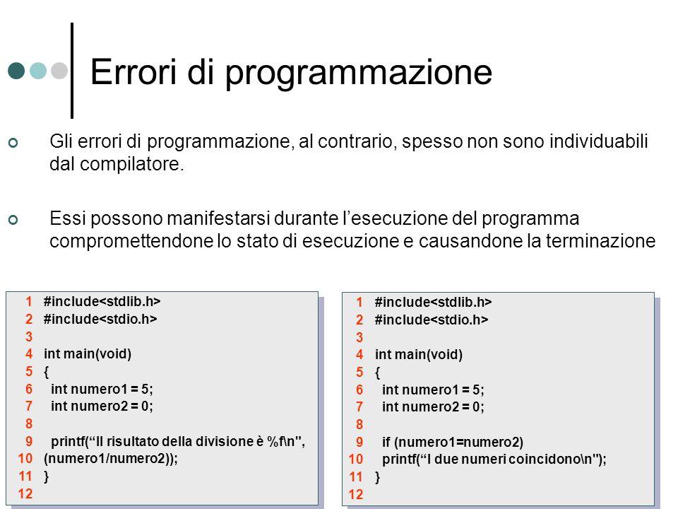 Errori di programmazione Gli errori di programmazione, al contrario, spesso non sono individuabili dal compilatore.