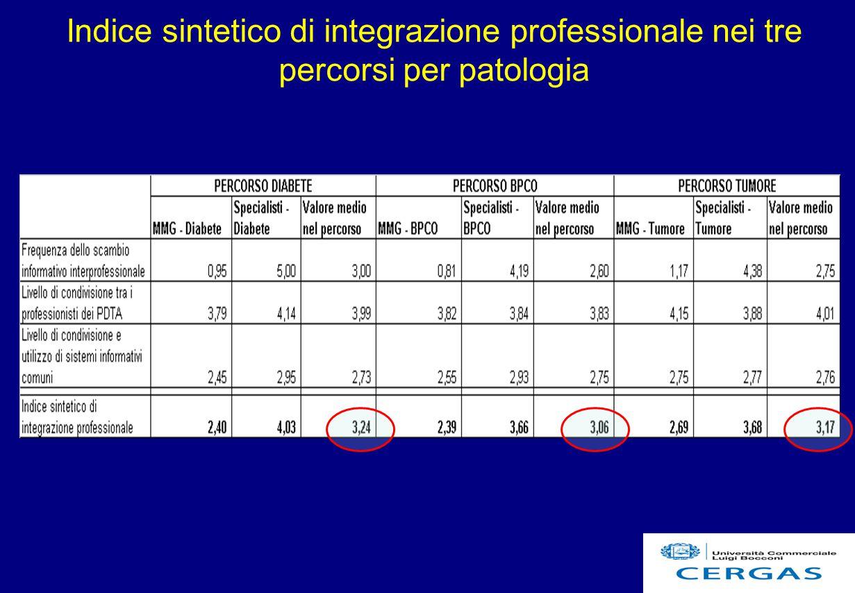 21 Indice sintetico di integrazione professionale nei tre percorsi per patologia
