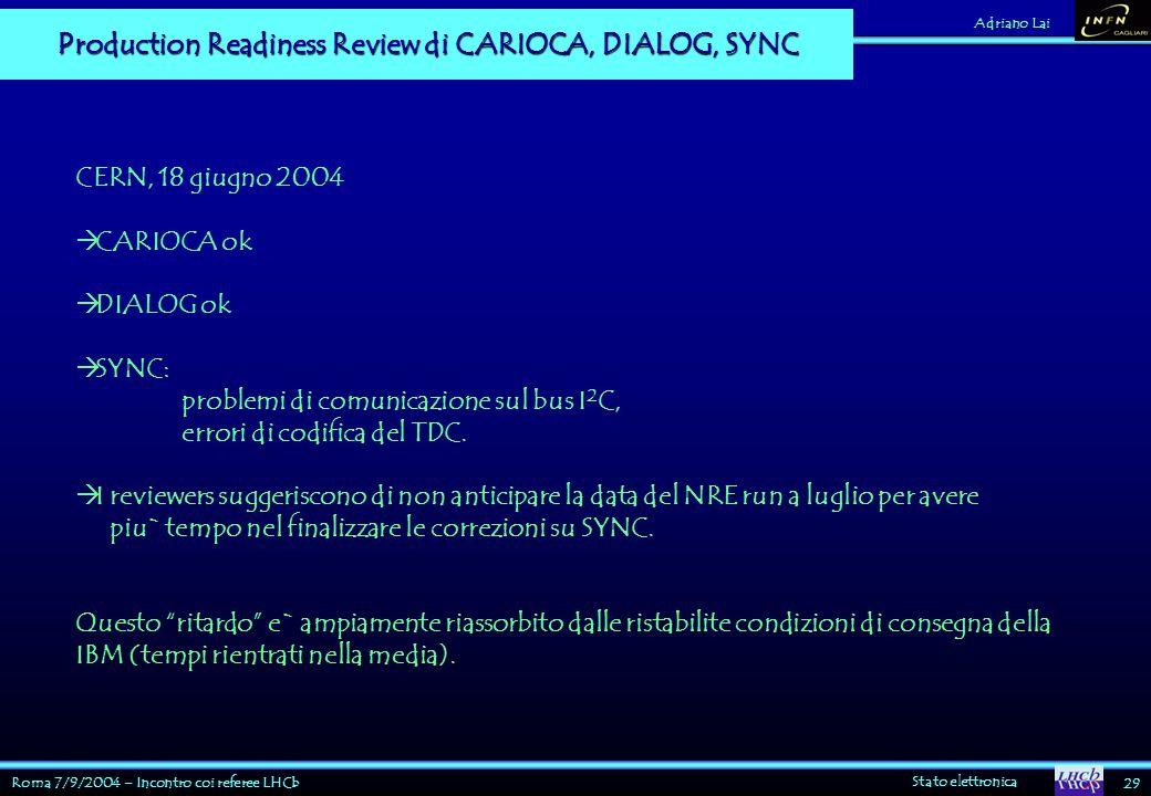 Roma 7/9/2004 – Incontro coi referee LHCb Stato elettronica 29 Adriano Lai Production Readiness Review di CARIOCA, DIALOG, SYNC CERN, 18 giugno 2004  CARIOCA ok  DIALOG ok  SYNC: problemi di comunicazione sul bus I 2 C, errori di codifica del TDC.