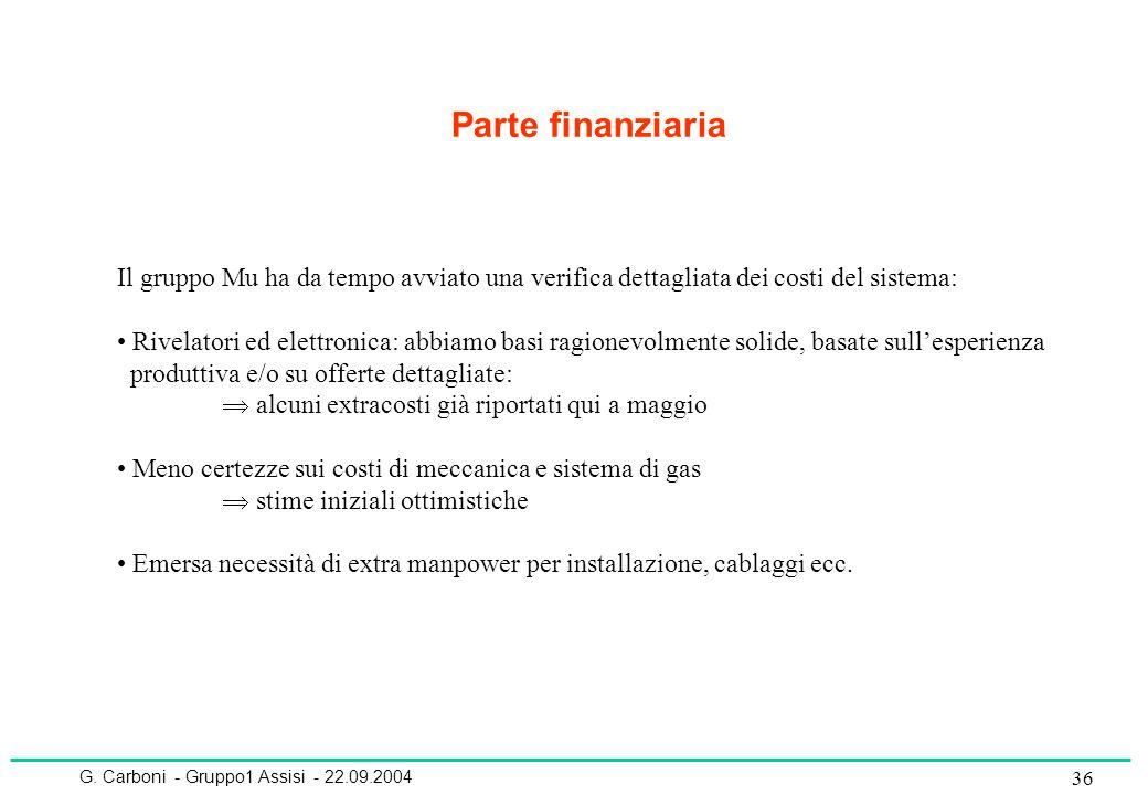 G. Carboni - Gruppo1 Assisi - 22.09.2004 36 Parte finanziaria Il gruppo Mu ha da tempo avviato una verifica dettagliata dei costi del sistema: Rivelat