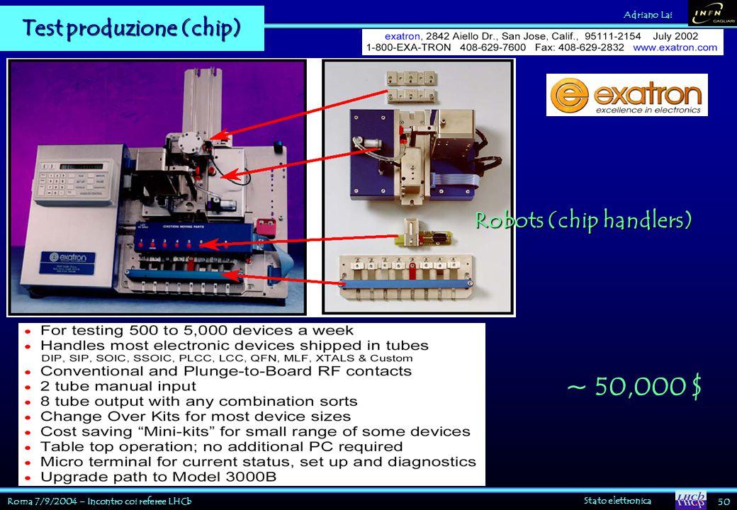 Roma 7/9/2004 – Incontro coi referee LHCb Stato elettronica 50 Adriano Lai Test produzione (chip) ~ 50,000 $ Robots (chip handlers)