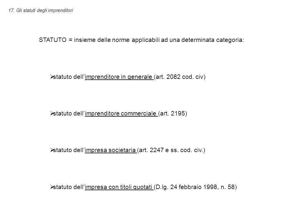 17. Gli statuti degli imprenditori STATUTO = insieme delle norme applicabili ad una determinata categoria:  statuto dell'imprenditore in generale (ar