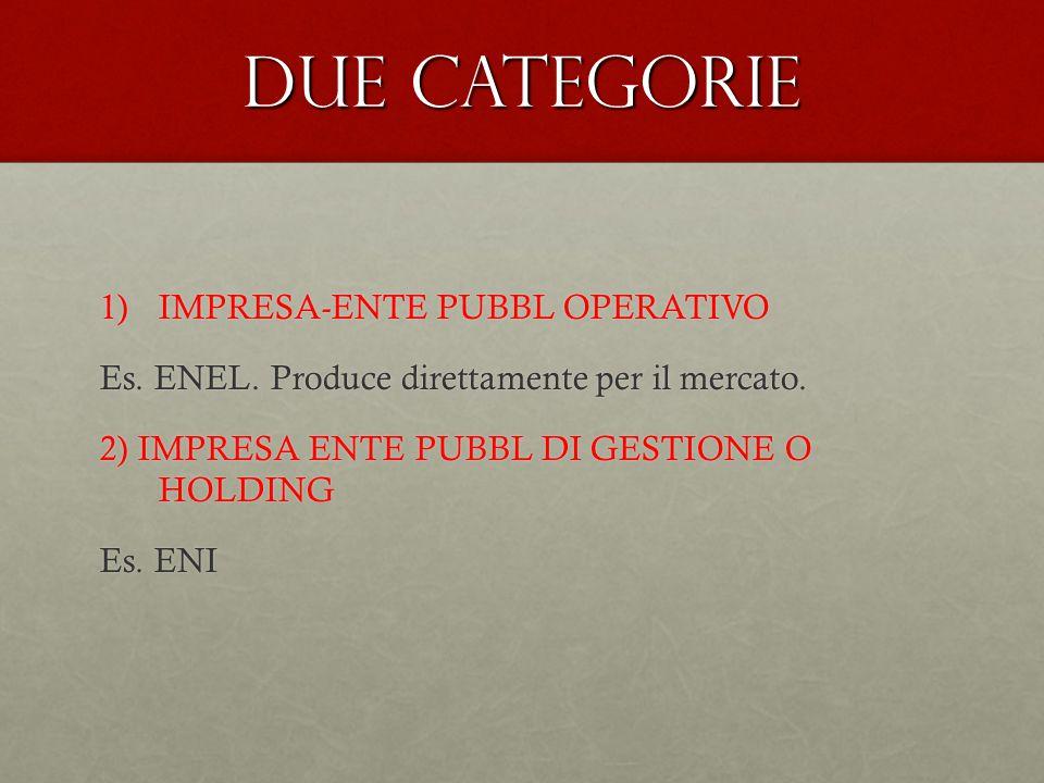 Due categorie 1)IMPRESA-ENTE PUBBL OPERATIVO Es. ENEL. Produce direttamente per il mercato. 2) IMPRESA ENTE PUBBL DI GESTIONE O HOLDING Es. ENI