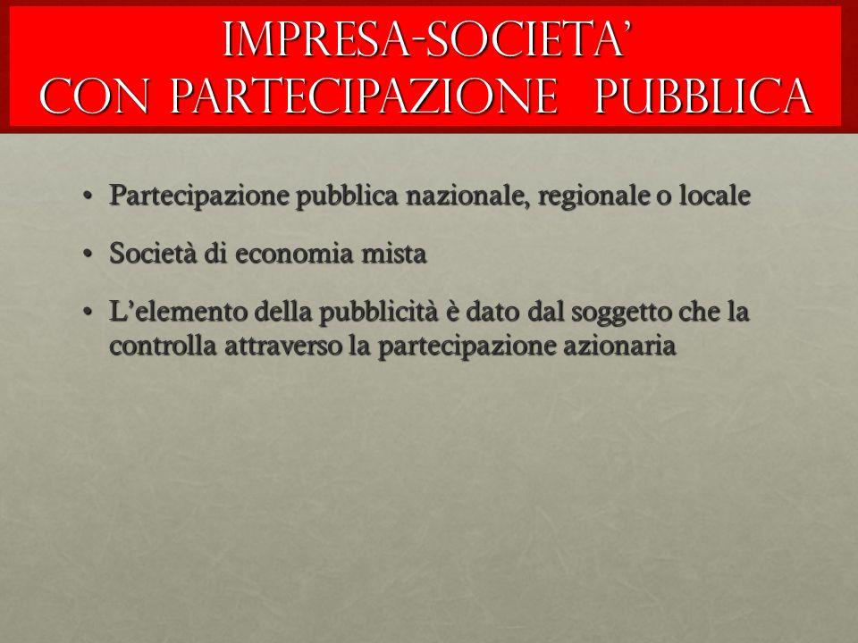 IMPRESA-SOCIETA' CON PARTECIPAZIONE PUBBLICA Partecipazione pubblica nazionale, regionale o localePartecipazione pubblica nazionale, regionale o local