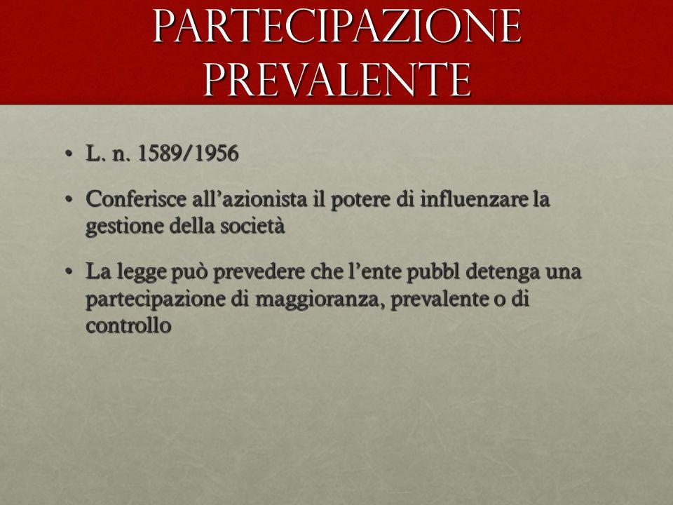 Partecipazione prevalente L. n. 1589/1956L. n. 1589/1956 Conferisce all'azionista il potere di influenzare la gestione della societàConferisce all'azi