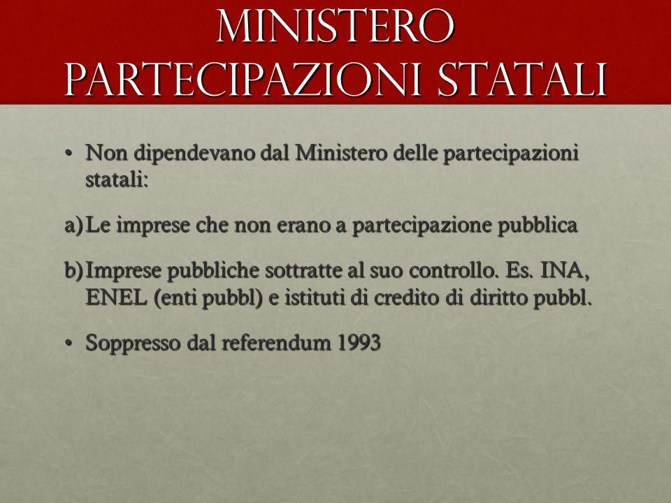 Ministero partecipazioni statali Non dipendevano dal Ministero delle partecipazioni statali:Non dipendevano dal Ministero delle partecipazioni statali