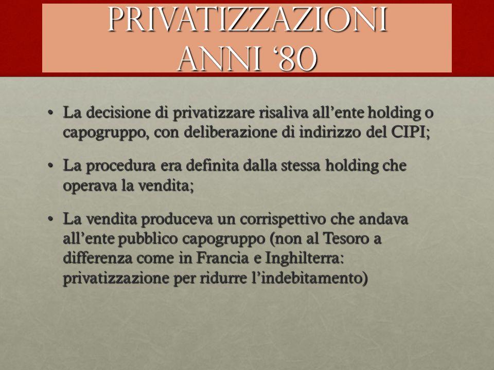 Privatizzazioni anni '80 La decisione di privatizzare risaliva all'ente holding o capogruppo, con deliberazione di indirizzo del CIPI;La decisione di