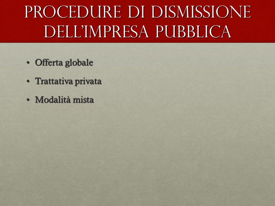 Procedure di dismissione dell'impresa pubblica Offerta globaleOfferta globale Trattativa privataTrattativa privata Modalità mistaModalità mista
