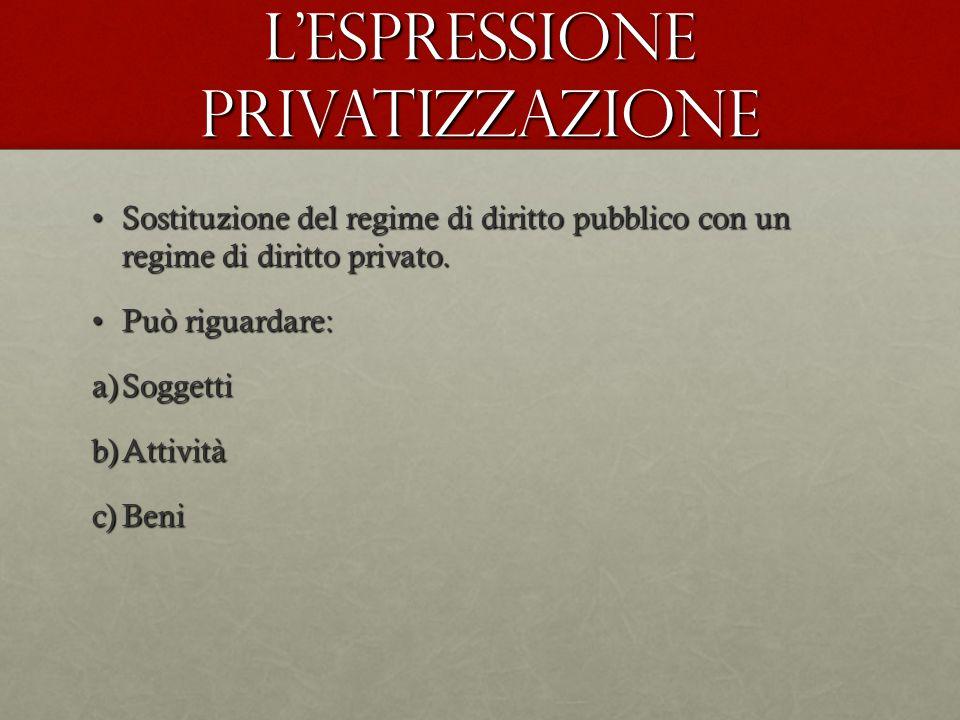 L'espressione privatizzazione Sostituzione del regime di diritto pubblico con un regime di diritto privato.Sostituzione del regime di diritto pubblico