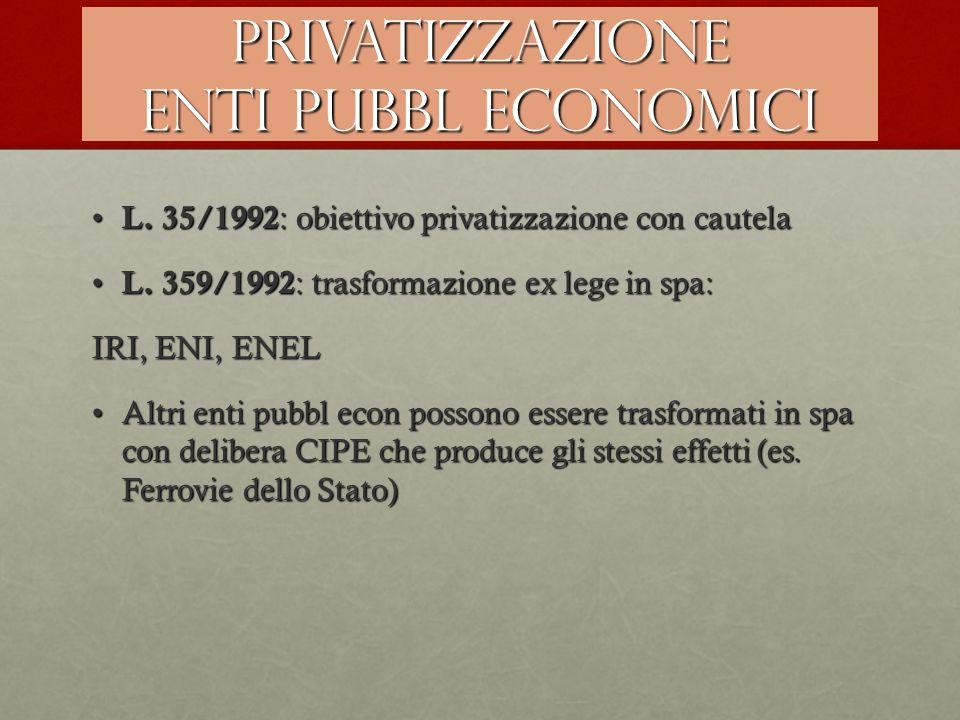 PRIVATIZZAZIONE ENTI PUBBL ECONOMICI L. 35/1992 : obiettivo privatizzazione con cautela L. 35/1992 : obiettivo privatizzazione con cautela L. 359/1992