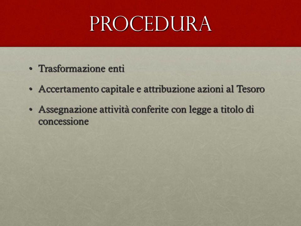 Procedura Trasformazione entiTrasformazione enti Accertamento capitale e attribuzione azioni al TesoroAccertamento capitale e attribuzione azioni al T