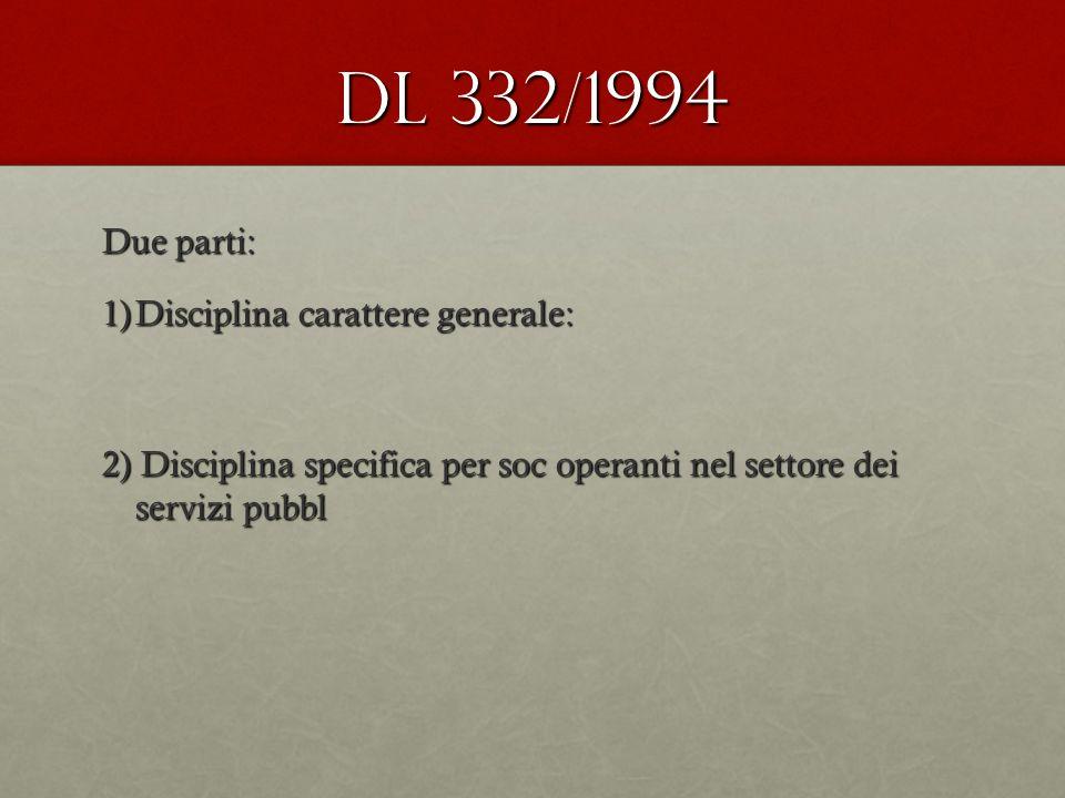 Dl 332/1994 Due parti: 1)Disciplina carattere generale: 2) Disciplina specifica per soc operanti nel settore dei servizi pubbl