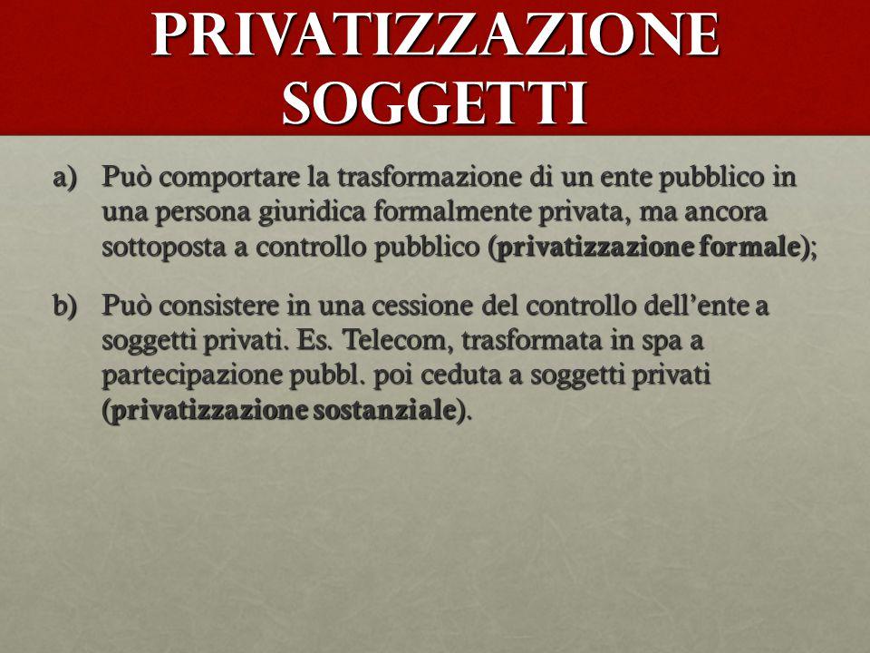 Privatizzazione soggetti a)Può comportare la trasformazione di un ente pubblico in una persona giuridica formalmente privata, ma ancora sottoposta a c