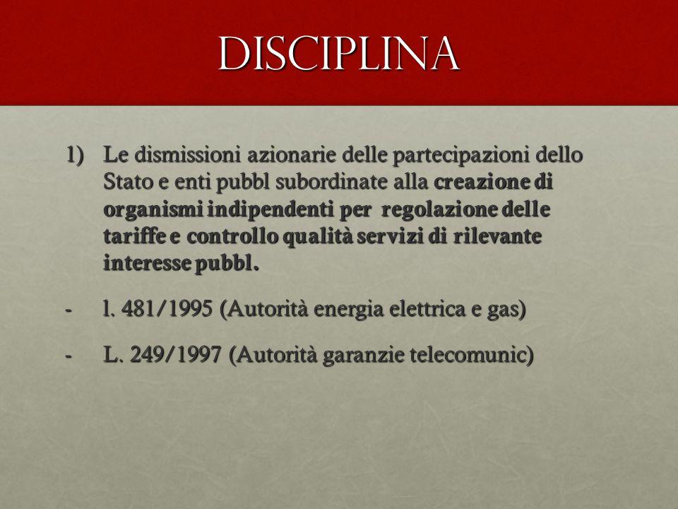 Disciplina 1)Le dismissioni azionarie delle partecipazioni dello Stato e enti pubbl subordinate alla creazione di organismi indipendenti per regolazio
