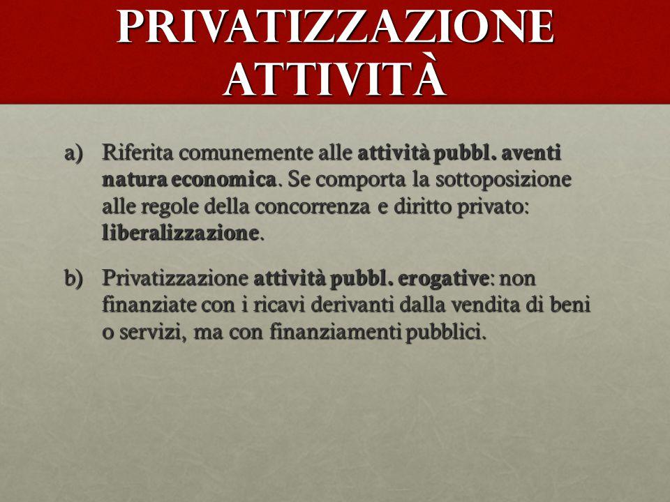 Privatizzazione attività a)Riferita comunemente alle attività pubbl. aventi natura economica. Se comporta la sottoposizione alle regole della concorre