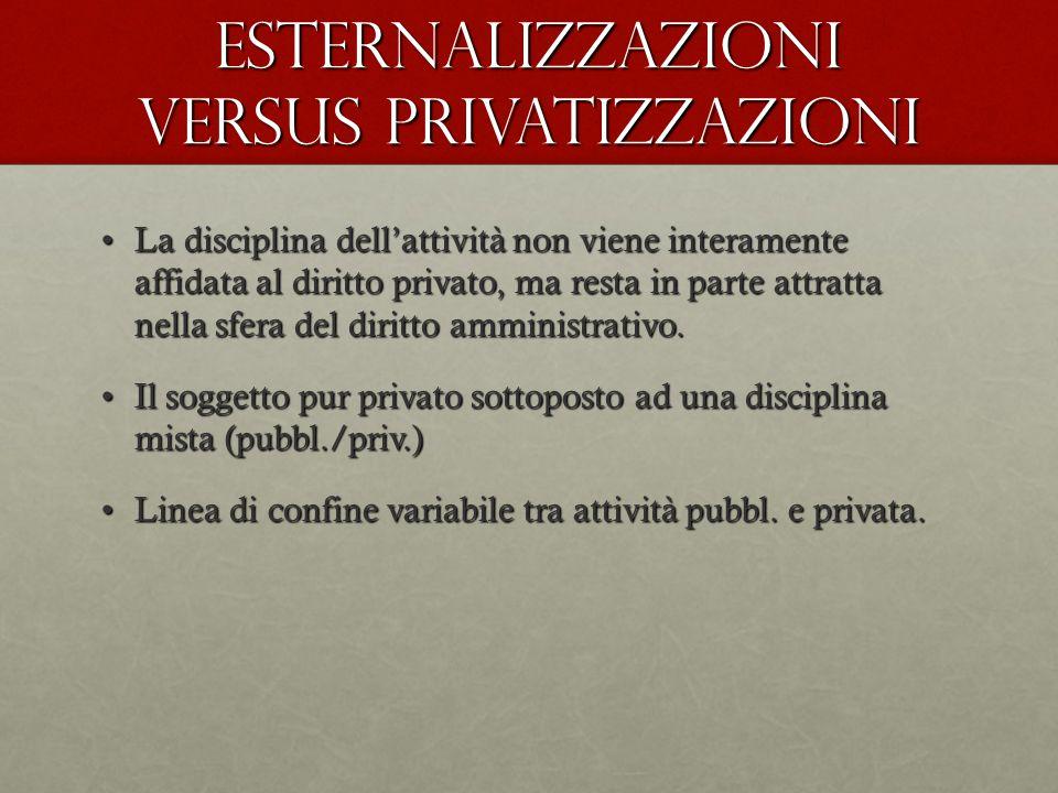 Esternalizzazioni versus privatizzazioni La disciplina dell'attività non viene interamente affidata al diritto privato, ma resta in parte attratta nel