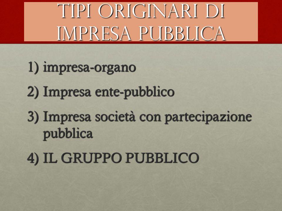 Tipi originari di impresa pubblica 1)impresa-organo 2)Impresa ente-pubblico 3)Impresa società con partecipazione pubblica 4)IL GRUPPO PUBBLICO