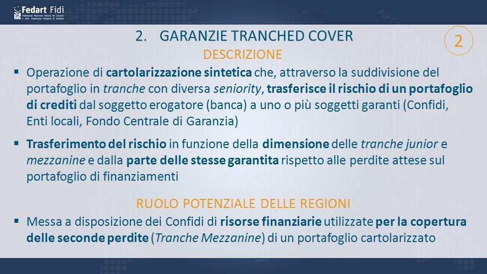 2.GARANZIE TRANCHED COVER  Operazione di cartolarizzazione sintetica che, attraverso la suddivisione del portafoglio in tranche con diversa seniority