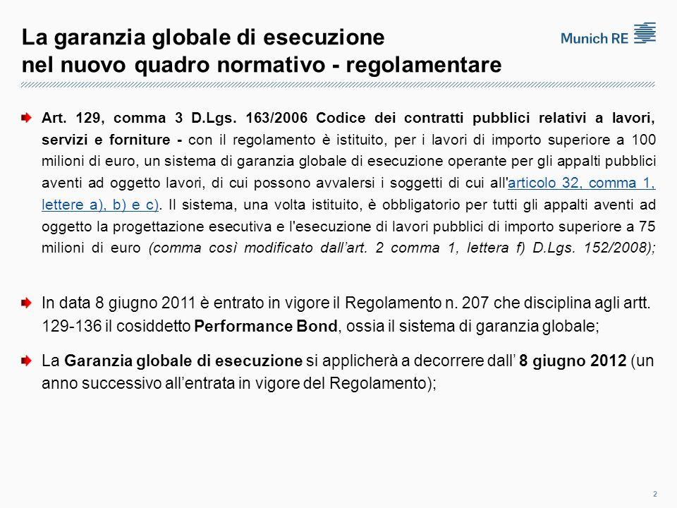 La garanzia globale di esecuzione nel nuovo quadro normativo - regolamentare Art.