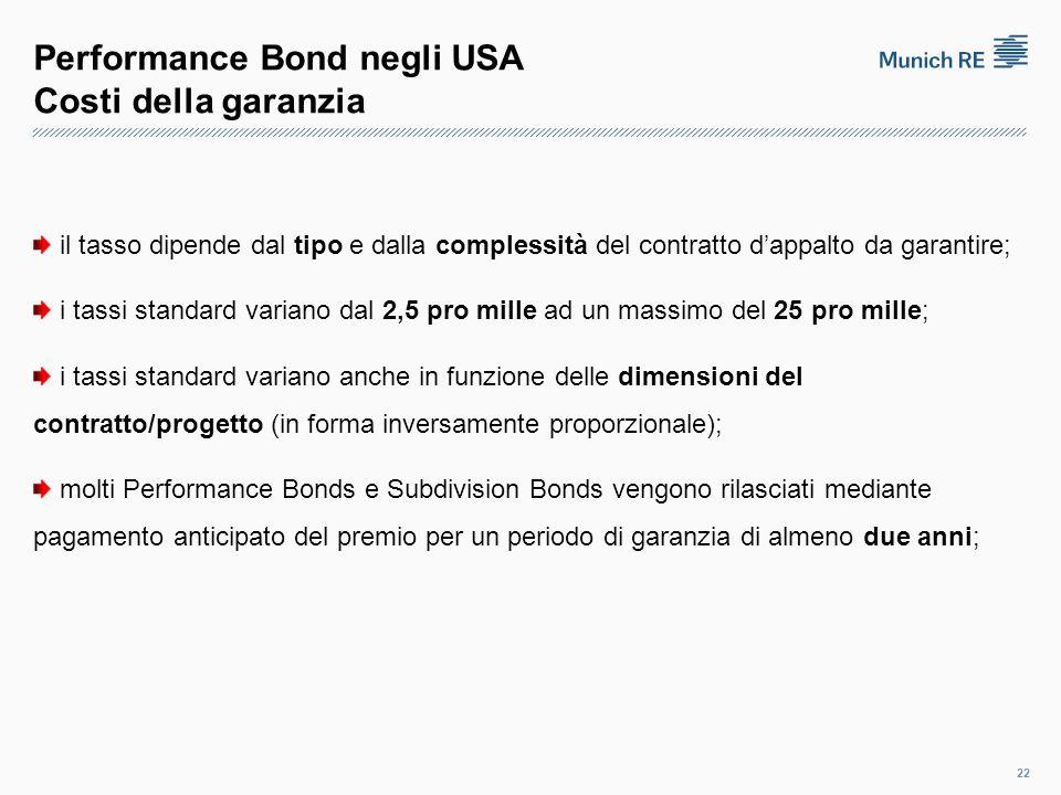 Performance Bond negli USA Costi della garanzia il tasso dipende dal tipo e dalla complessità del contratto d'appalto da garantire; i tassi standard variano dal 2,5 pro mille ad un massimo del 25 pro mille; i tassi standard variano anche in funzione delle dimensioni del contratto/progetto (in forma inversamente proporzionale); molti Performance Bonds e Subdivision Bonds vengono rilasciati mediante pagamento anticipato del premio per un periodo di garanzia di almeno due anni; 22
