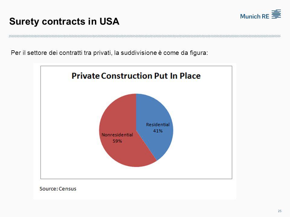 Surety contracts in USA 25 Per il settore dei contratti tra privati, la suddivisione è come da figura: