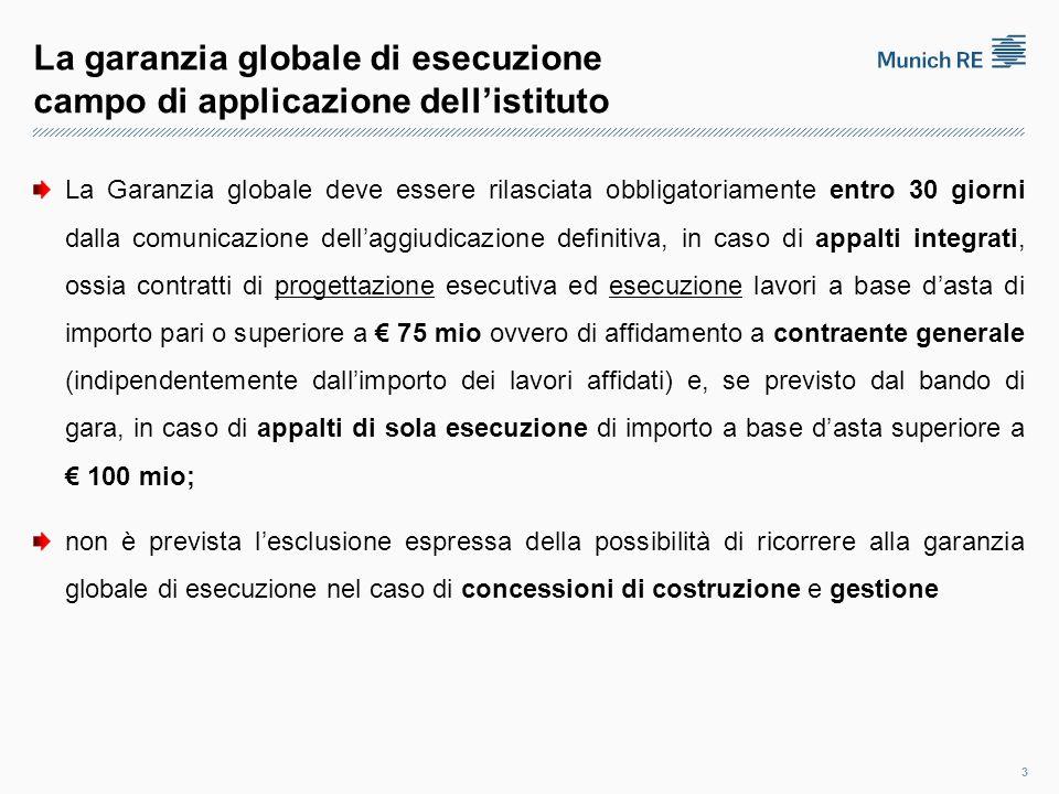 La garanzia globale di esecuzione requisiti del garante Il bando di gara può prevedere che la garanzia di subentro, a fianco del garante che presta la fidejussione di cui all'art.