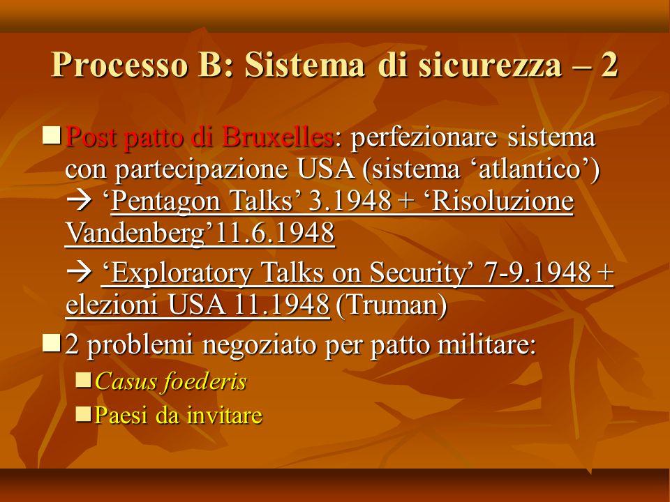 Processo B: Sistema di sicurezza – 2 Post patto di Bruxelles: perfezionare sistema con partecipazione USA (sistema 'atlantico')  'Pentagon Talks' 3.1
