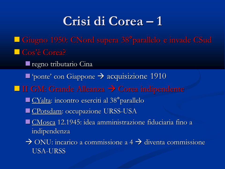 Crisi di Corea – 1 Giugno 1950: CNord supera 38°parallelo e invade CSud Giugno 1950: CNord supera 38°parallelo e invade CSud Cos'è Corea? Cos'è Corea?