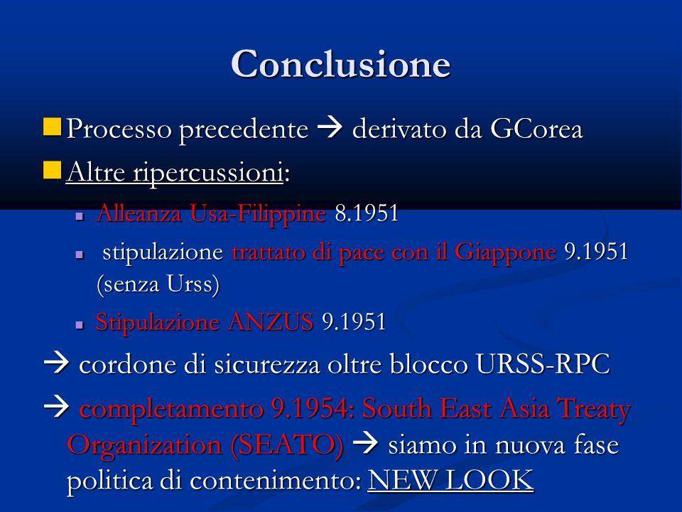 Conclusione Processo precedente  derivato da GCorea Processo precedente  derivato da GCorea Altre ripercussioni: Altre ripercussioni: Alleanza Usa-F