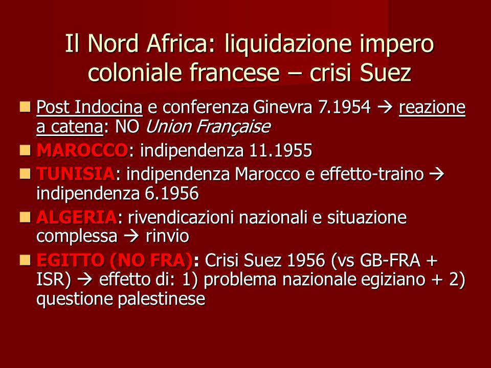 Il Nord Africa: liquidazione impero coloniale francese – crisi Suez Post Indocina e conferenza Ginevra 7.1954  reazione a catena: NO Union Française