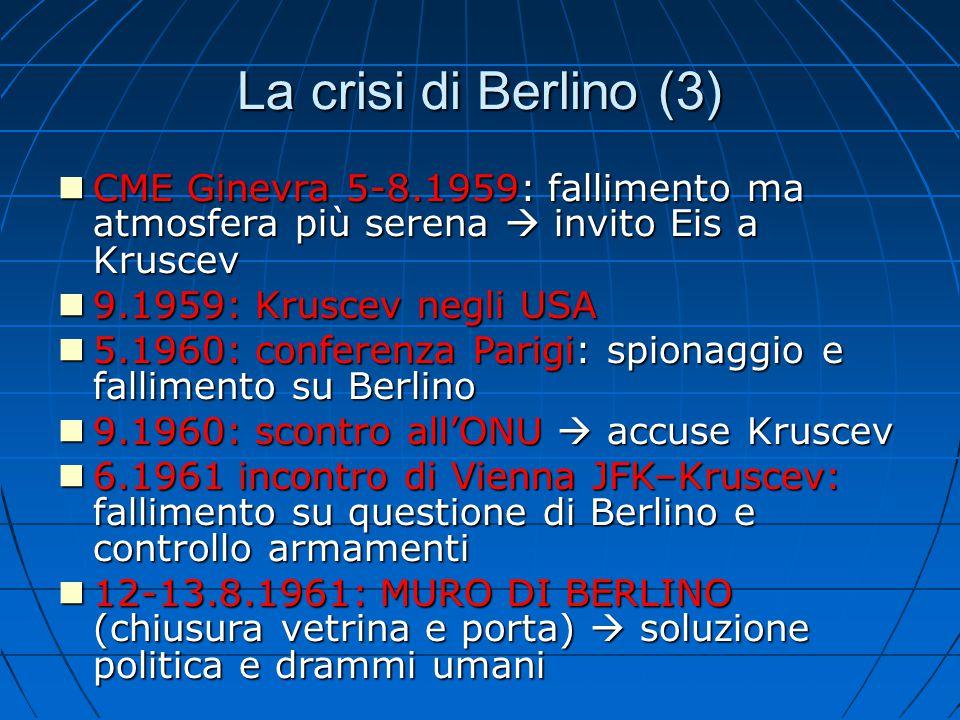 La crisi di Berlino (3) CME Ginevra 5-8.1959: fallimento ma atmosfera più serena  invito Eis a Kruscev CME Ginevra 5-8.1959: fallimento ma atmosfera