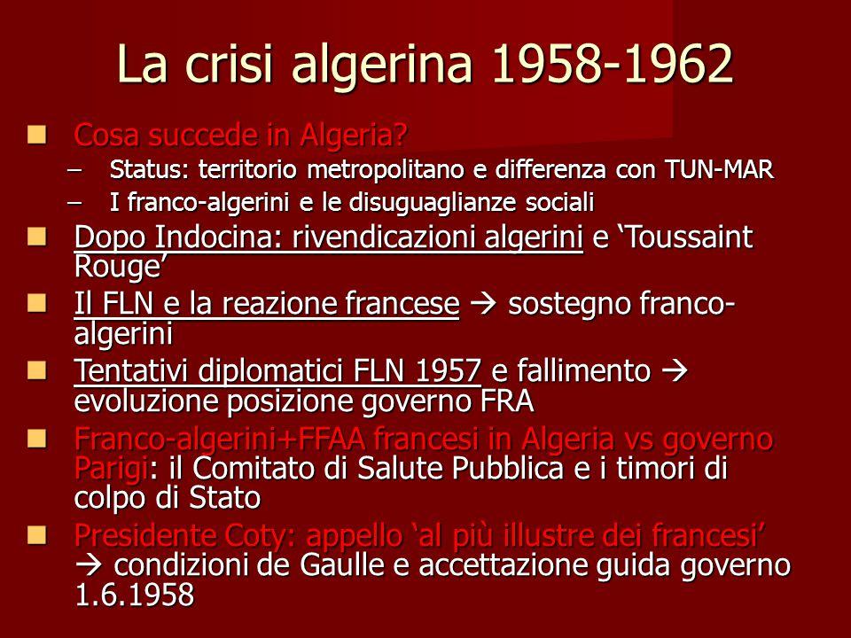 La crisi algerina 1958-1962 Cosa succede in Algeria? Cosa succede in Algeria? –Status: territorio metropolitano e differenza con TUN-MAR –I franco-alg