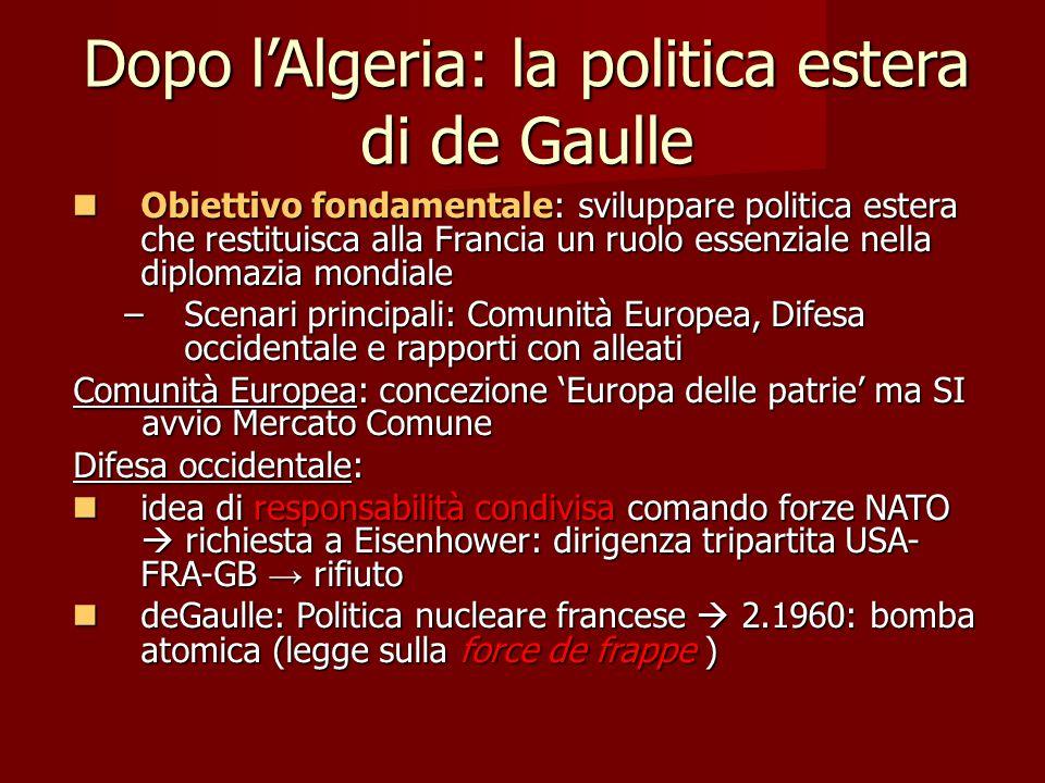 Dopo l'Algeria: la politica estera di de Gaulle Obiettivo fondamentale: sviluppare politica estera che restituisca alla Francia un ruolo essenziale ne