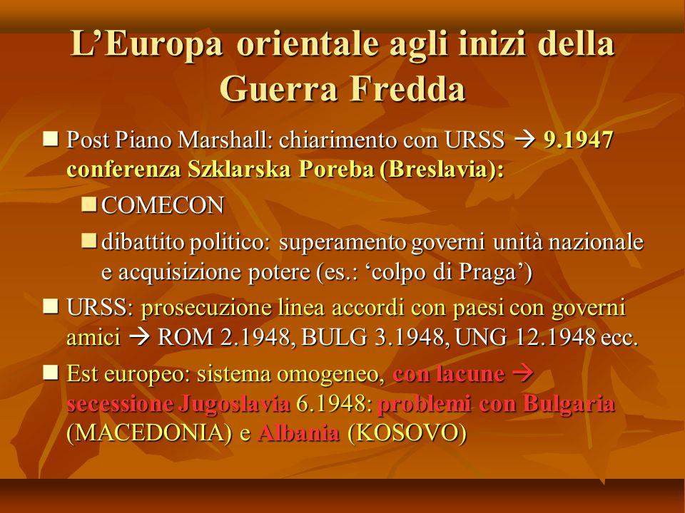 L'Europa orientale agli inizi della Guerra Fredda Post Piano Marshall: chiarimento con URSS  9.1947 conferenza Szklarska Poreba (Breslavia): Post Pia